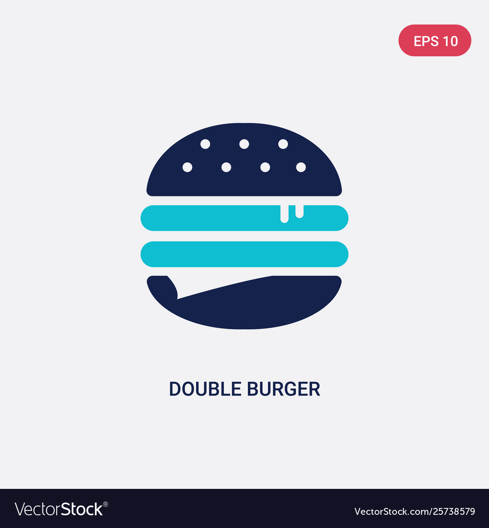 Two color double burger icon from food concept