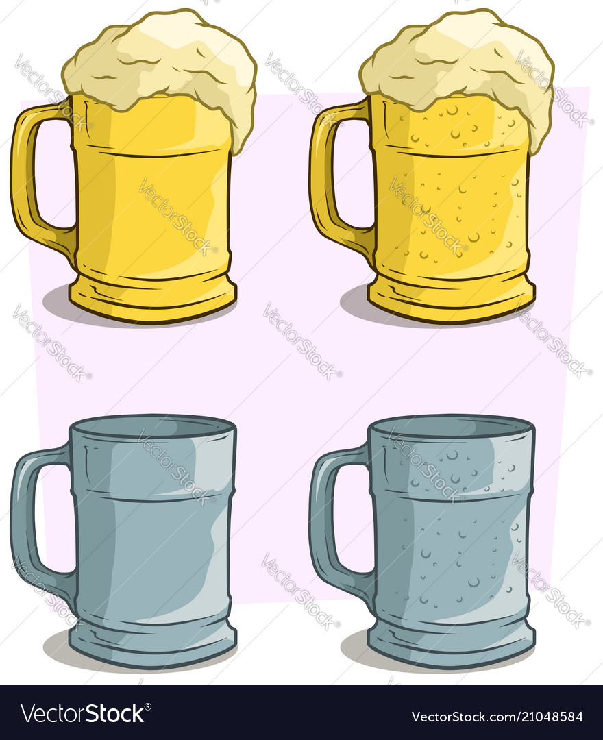 Cartoon colorful beer mugs icon set