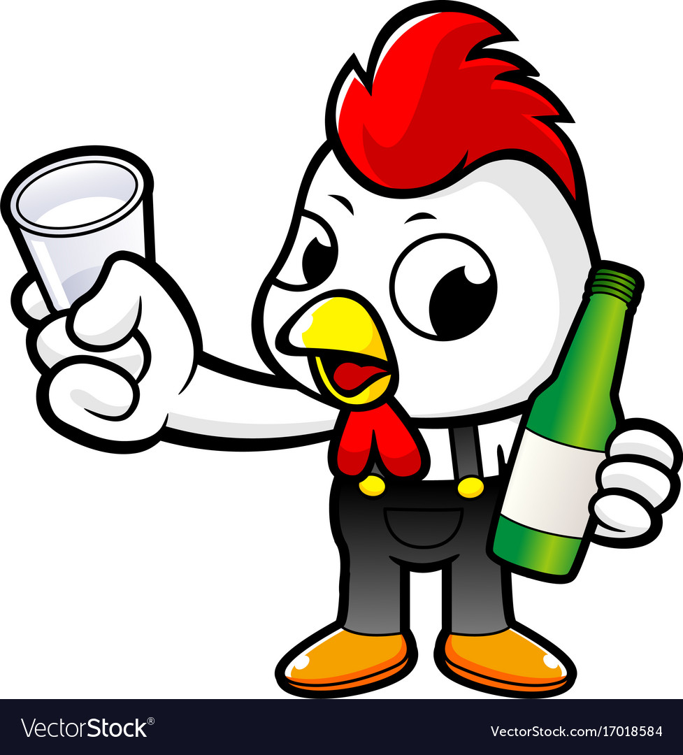Cartoon rooster character holding a distilled vector image