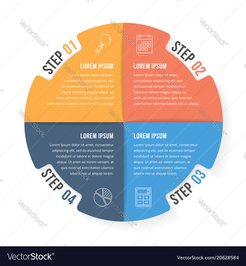 Circle infographic template with four elements