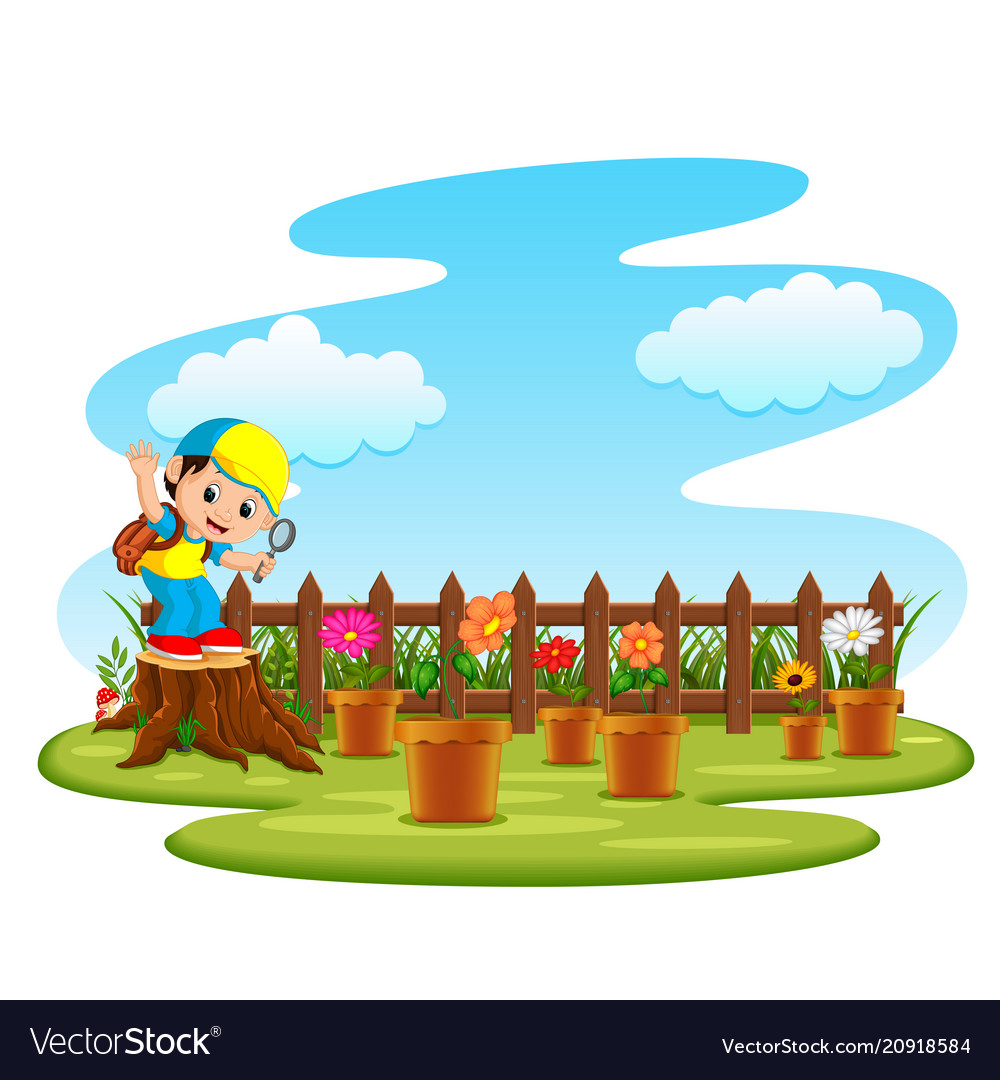 Happy kids playing in the garden illustration Stock Vector Image & Art -  Alamy