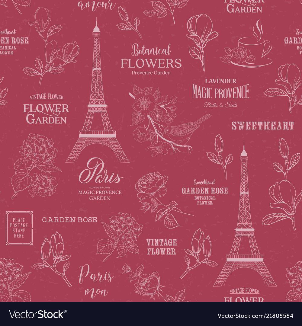 Paris romantic seamless pattern spring tour