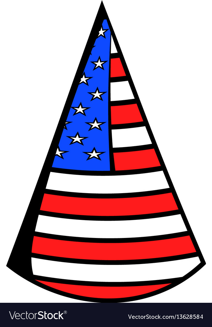 Party hat in the usa flag colors icon cartoon