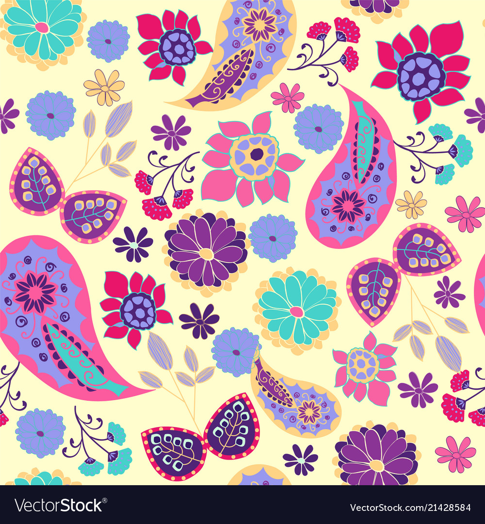 Pattern of paisley leaves and flowers summer