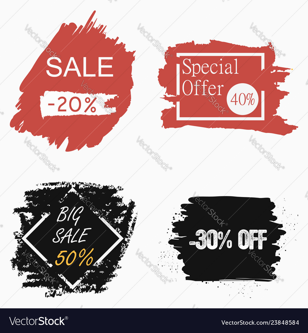 Sale grunge banner set ink brush discount labels