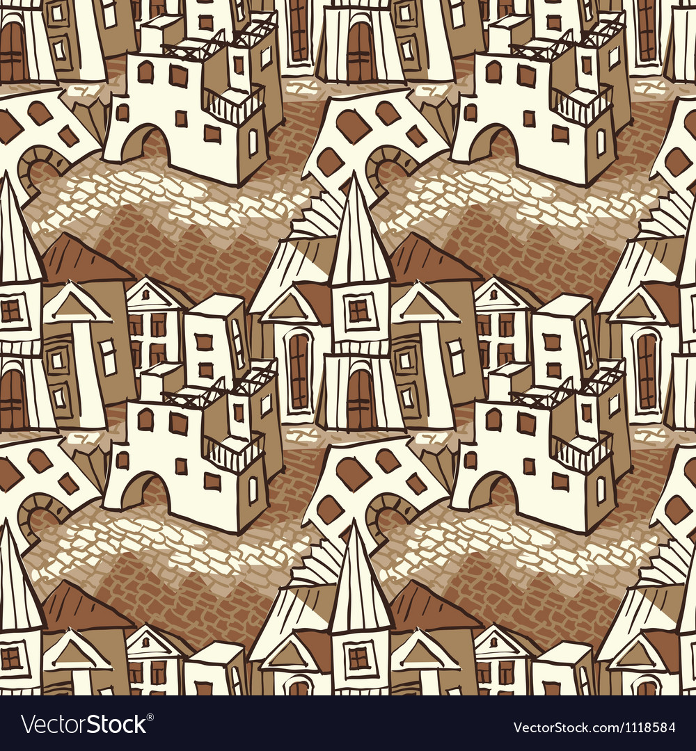 Seamless pattern town