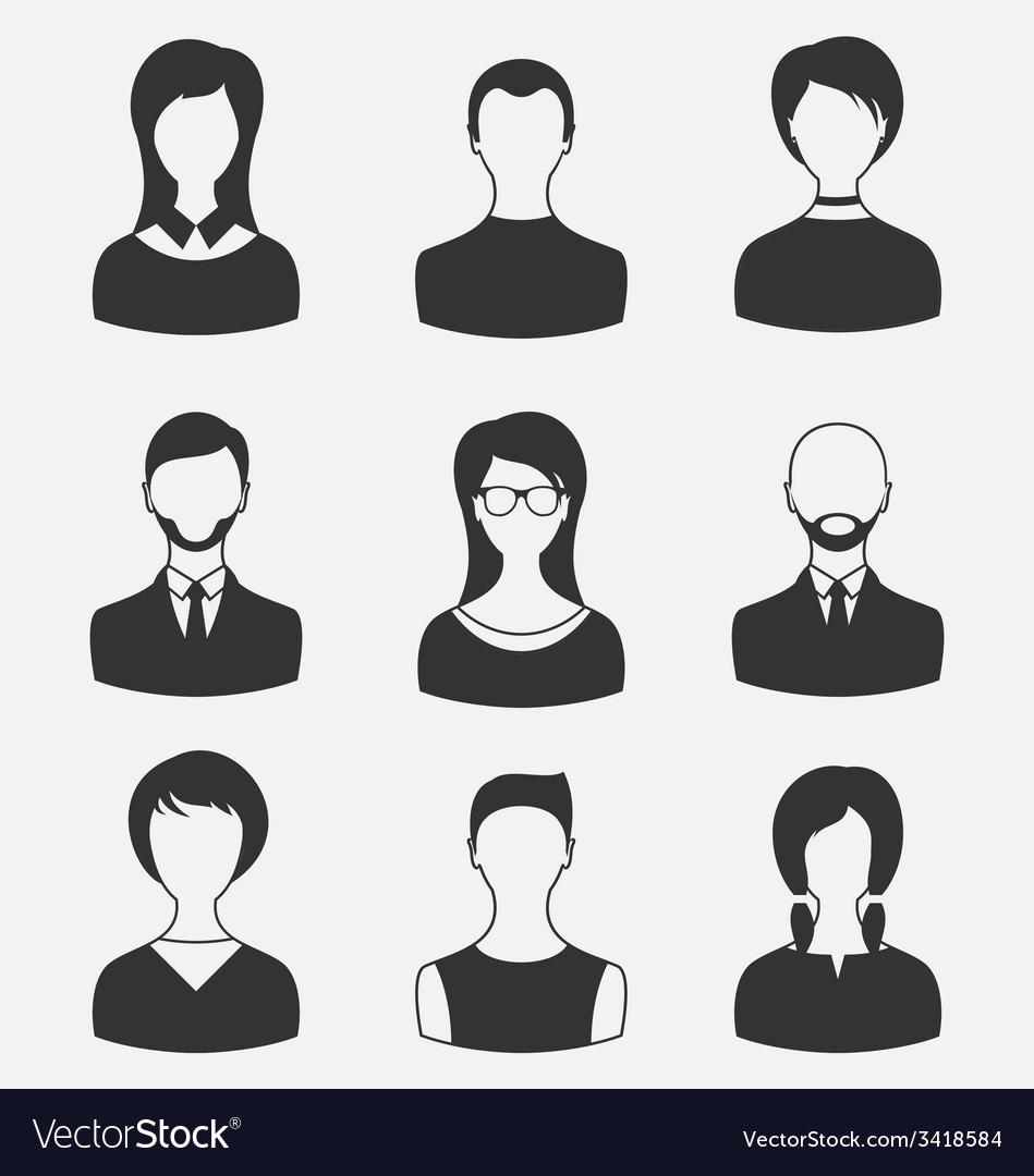 Set business people different male and female user