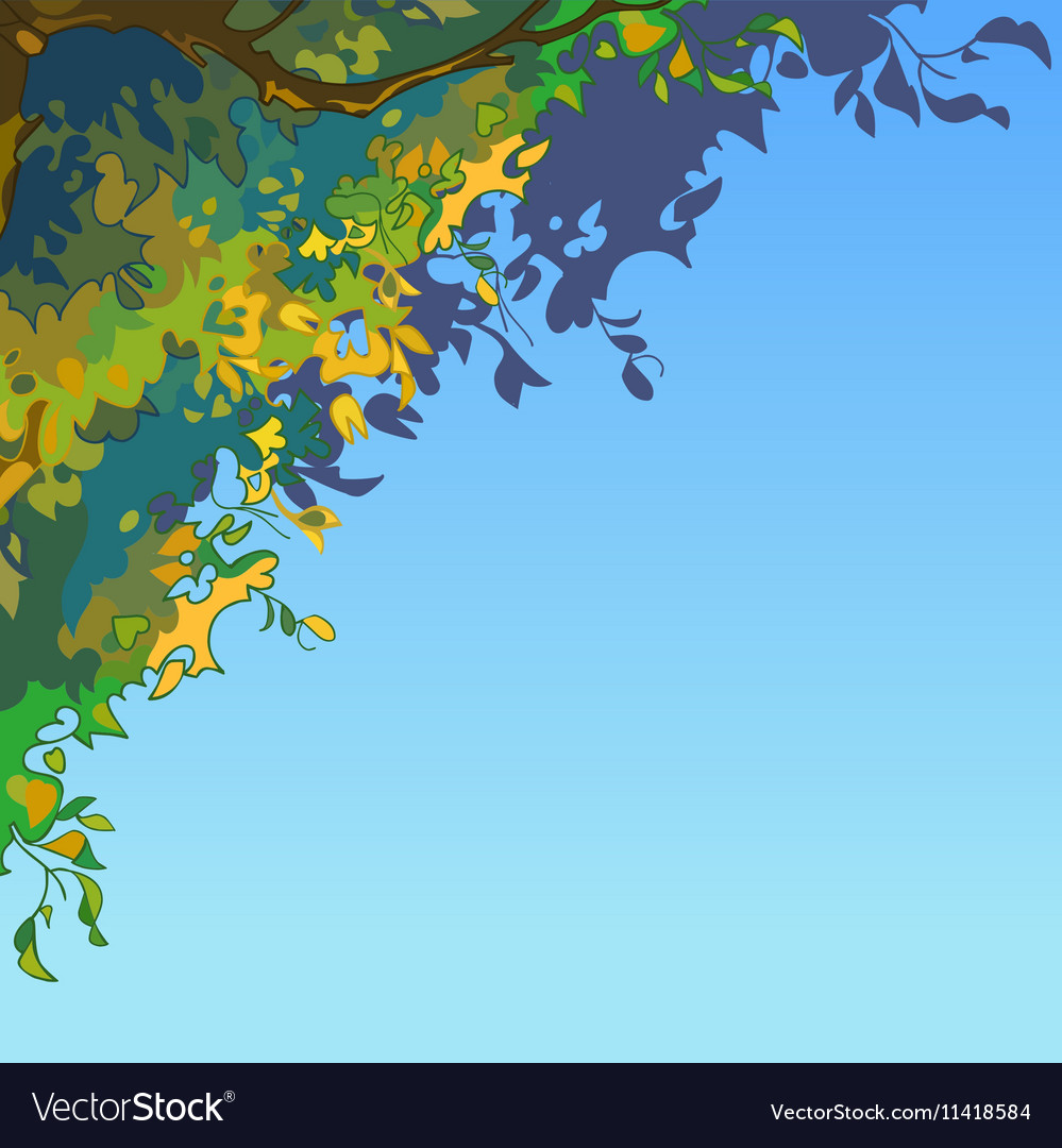 Sky background with lush multi colored leaves