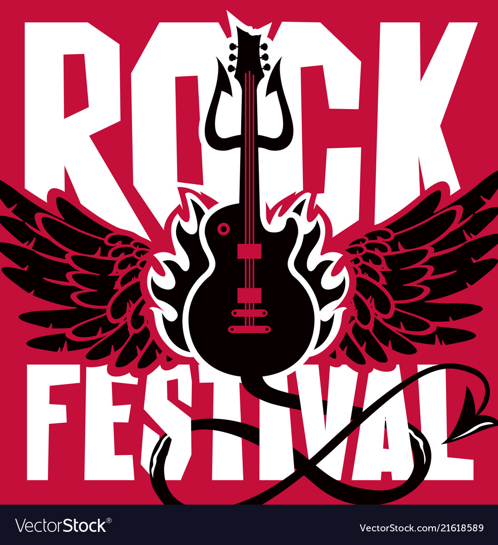 Banner for rock festival of live music vector image on VectorStock