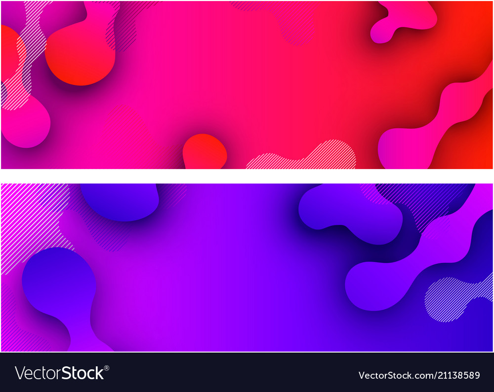 Banners with abstract colorful pattern