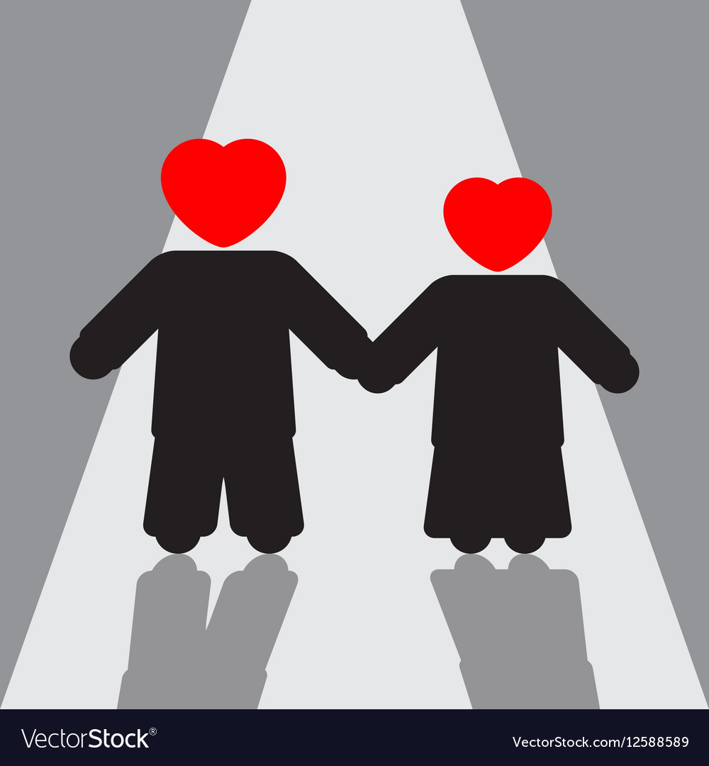 Boy and girl silhouettes with red hearts shadows