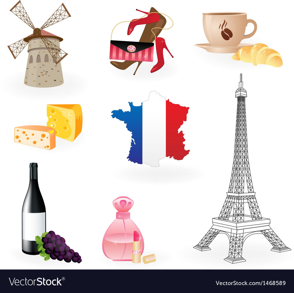 Collection Icons Of Symbols Of France Royalty Free Vector