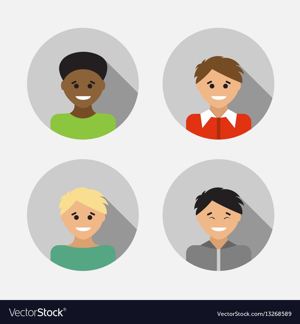 Flat design avatar set of multiracial people
