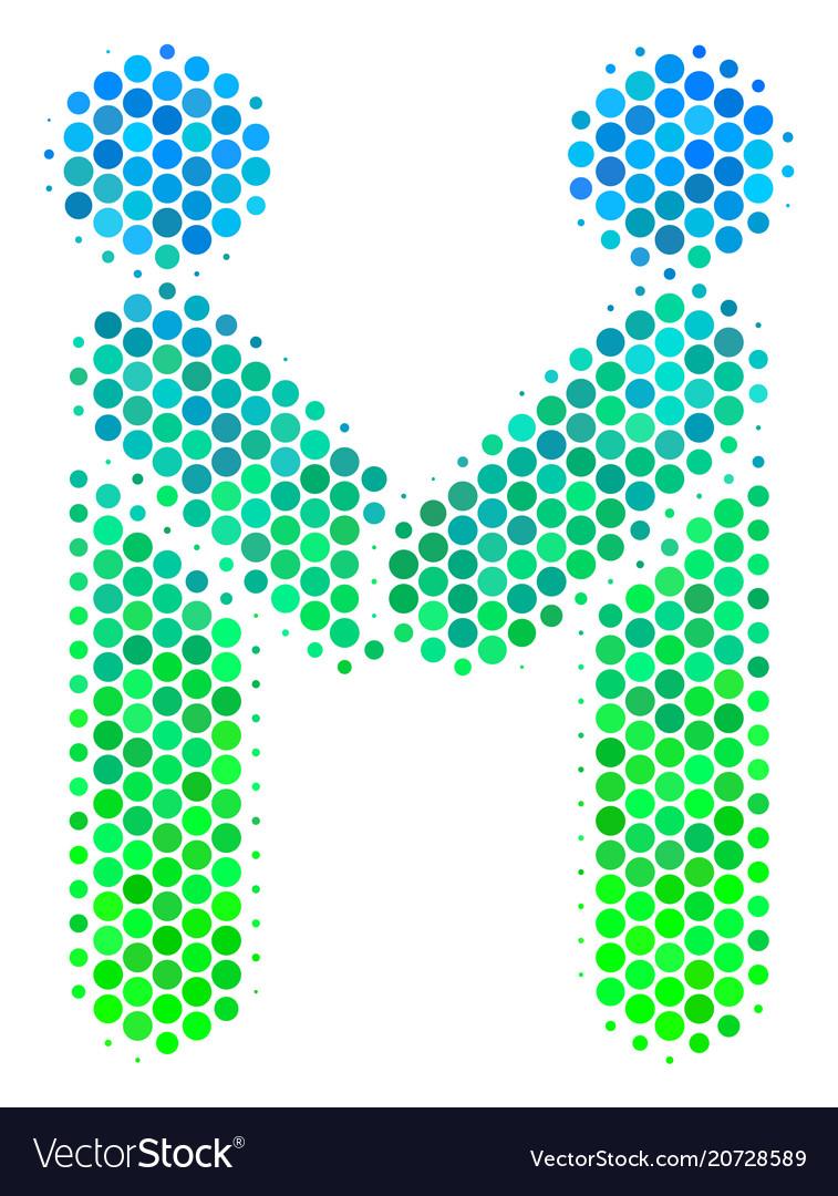 Halftone blue-green persons handshake icon