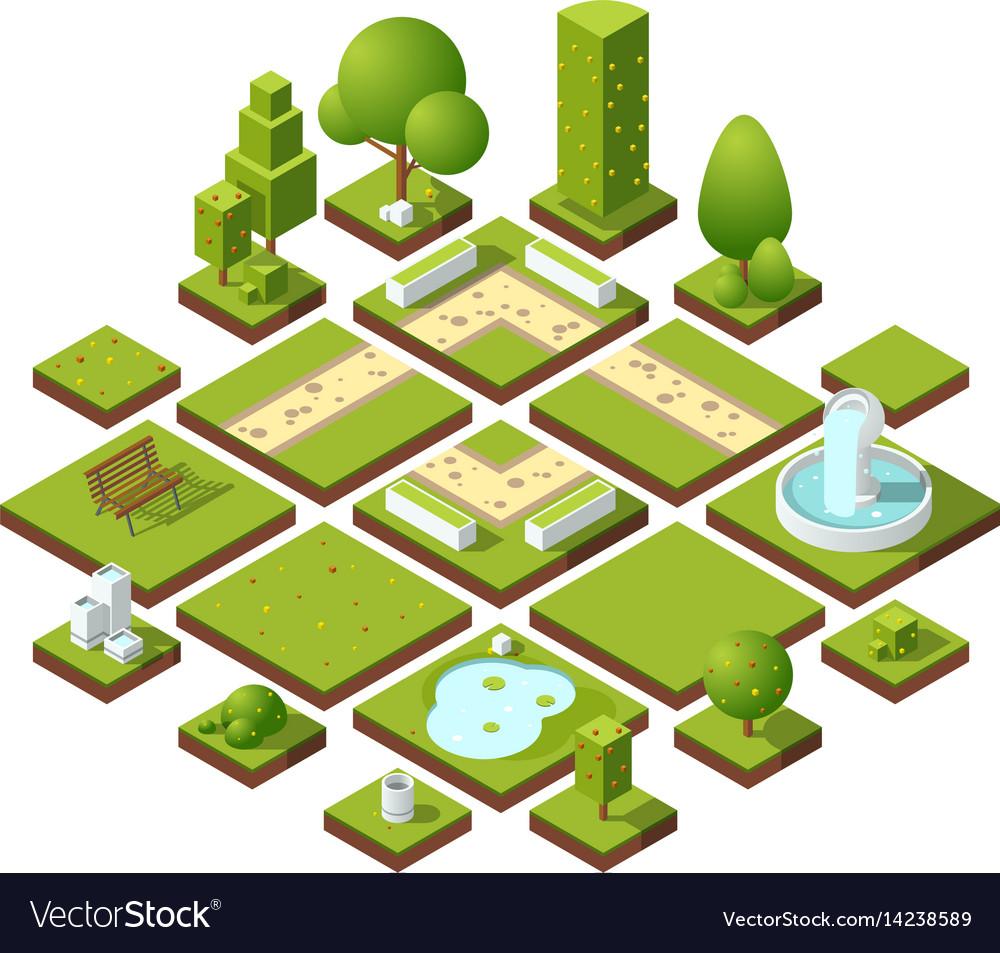 Isometric urban elements and garden decoration
