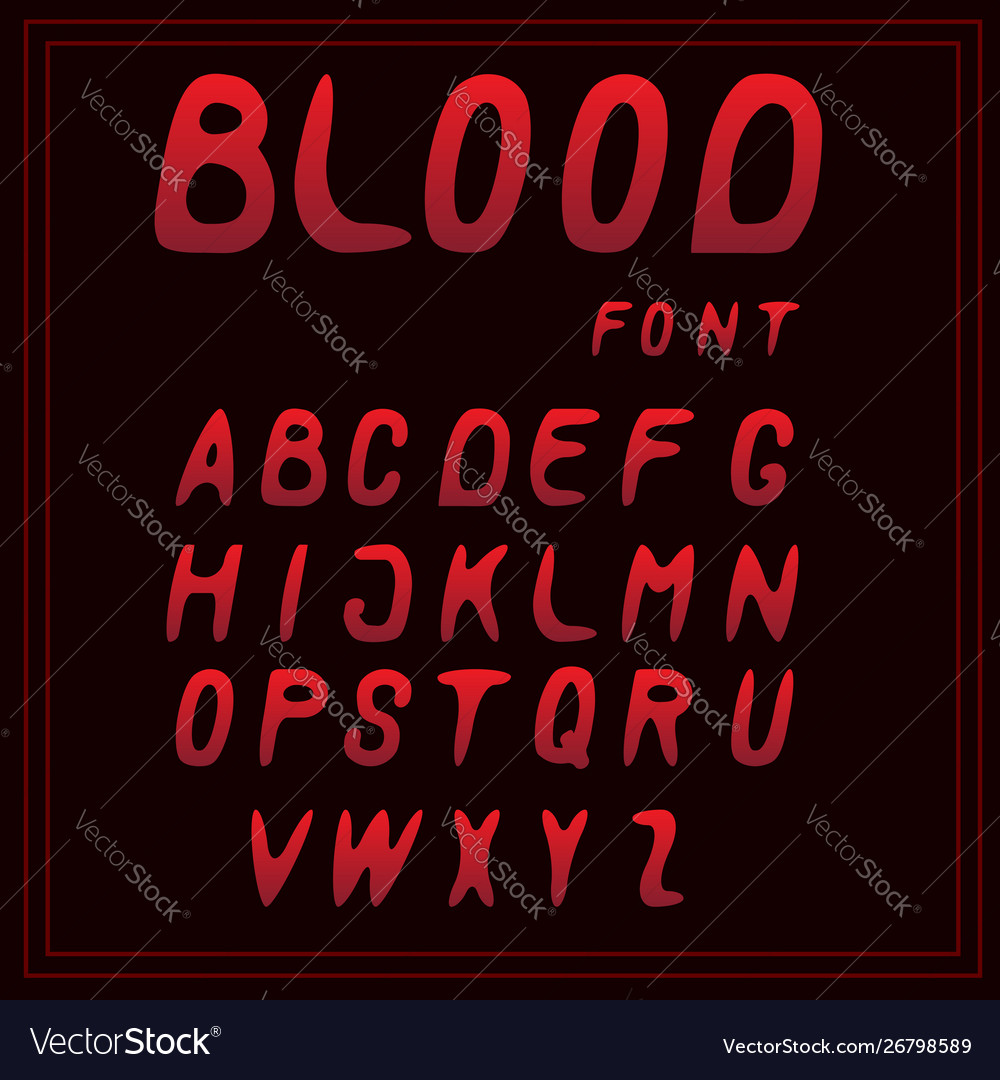 Letters a-z red blood font
