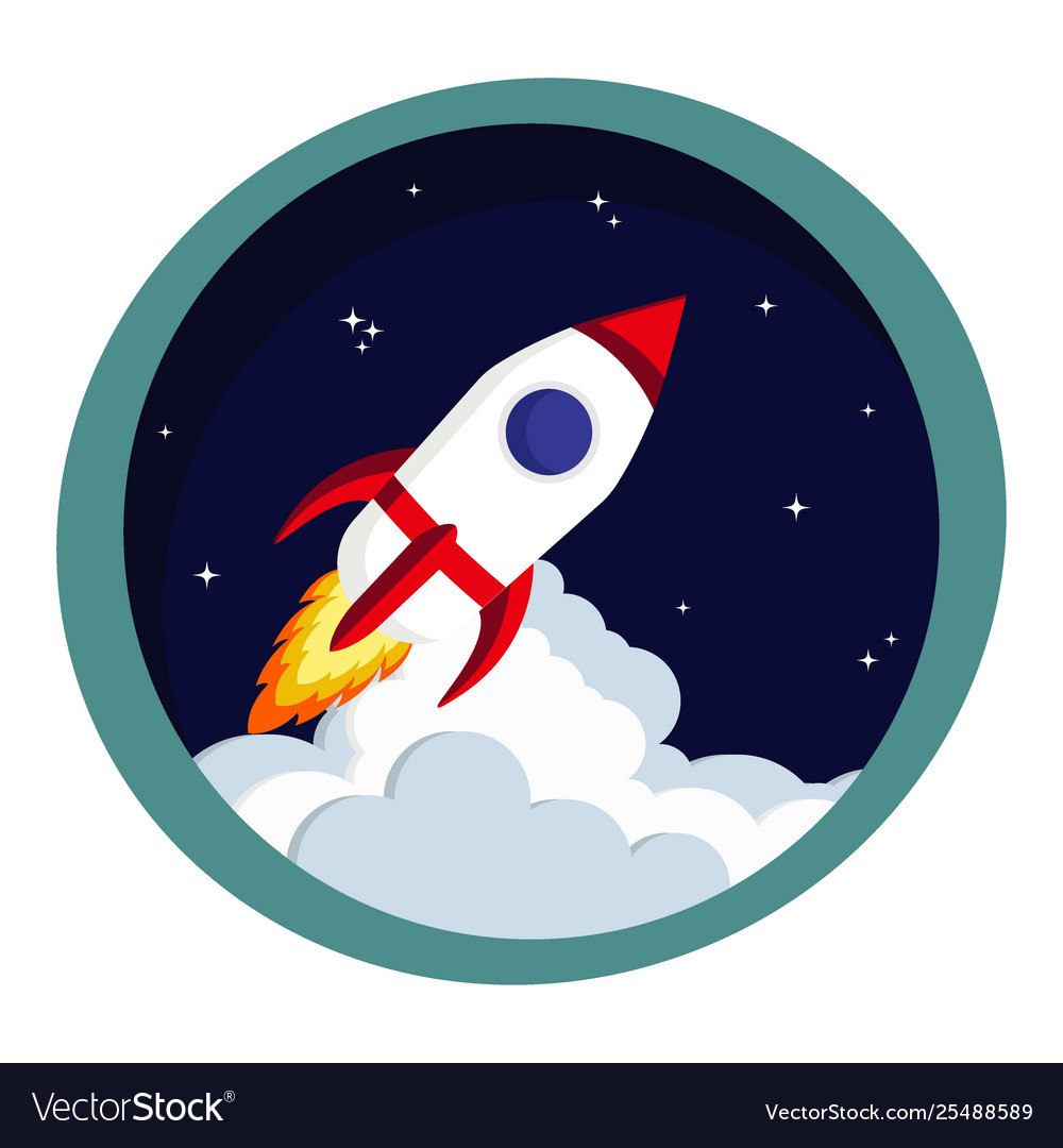 Rocket launch in space startup or creative idea