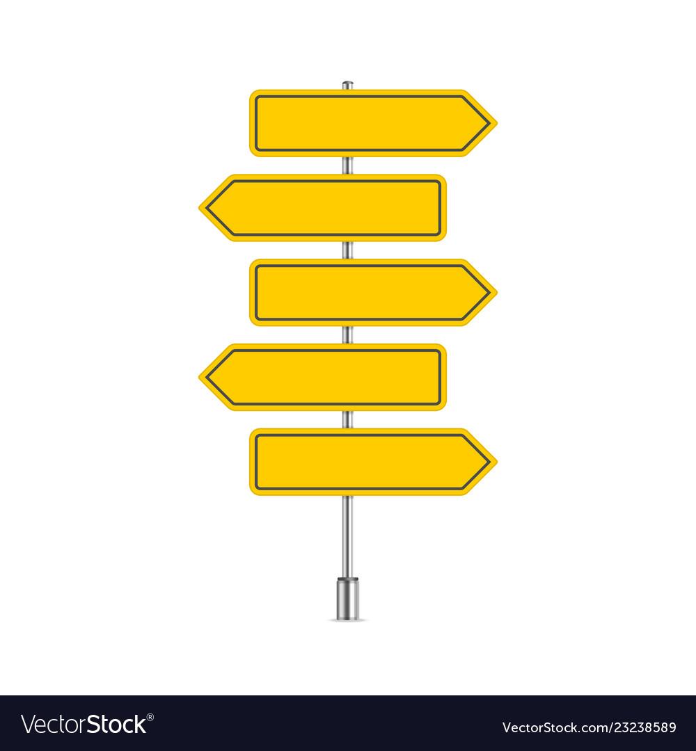 Set of yellow signpost