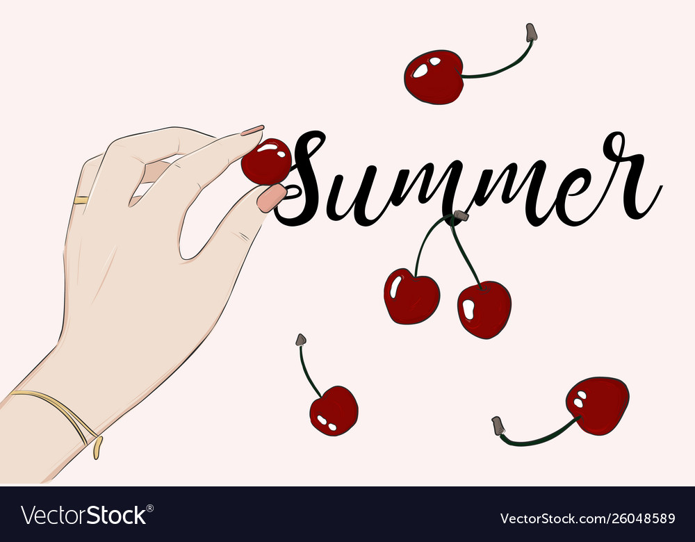 Summer party cherry greeting card food sketch