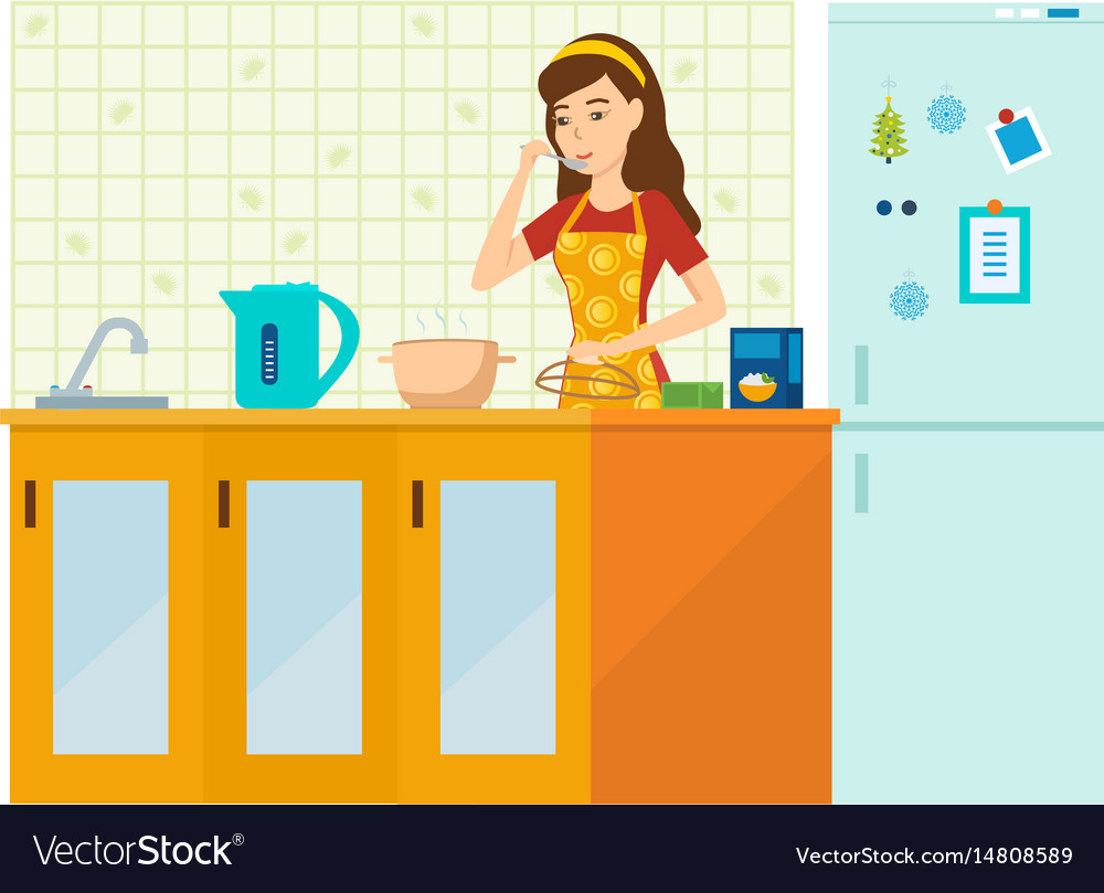 Woman housewife is engaged in preparing a meal