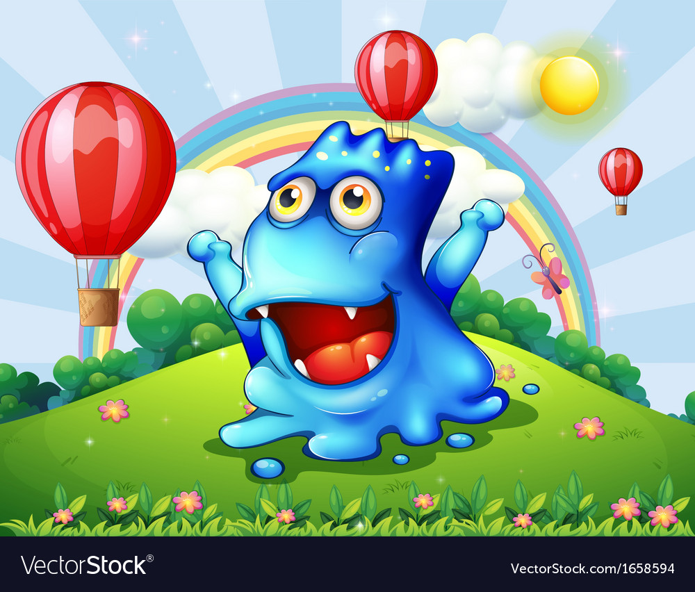 A happy blue monster at the hilltop with the