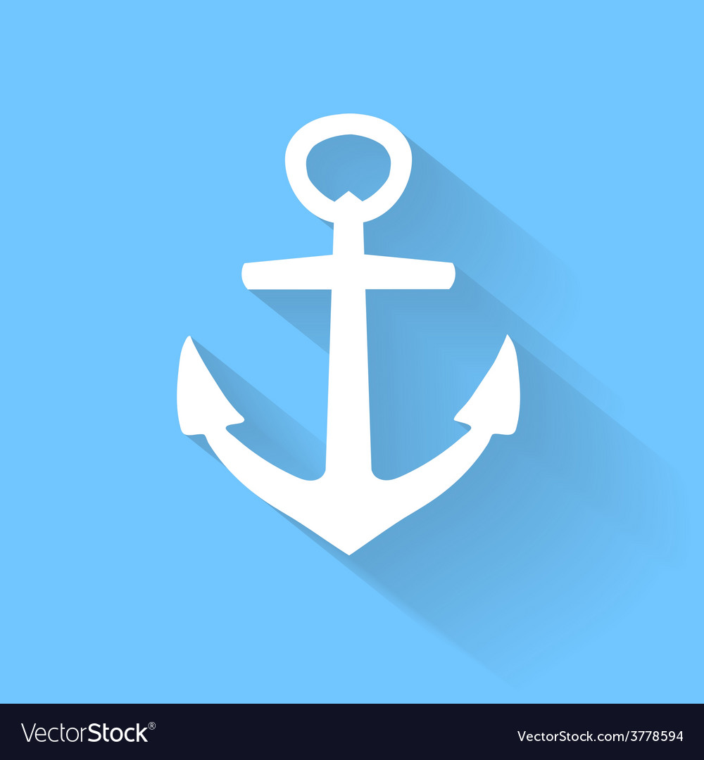 Anchor icon in flat style with long shadow