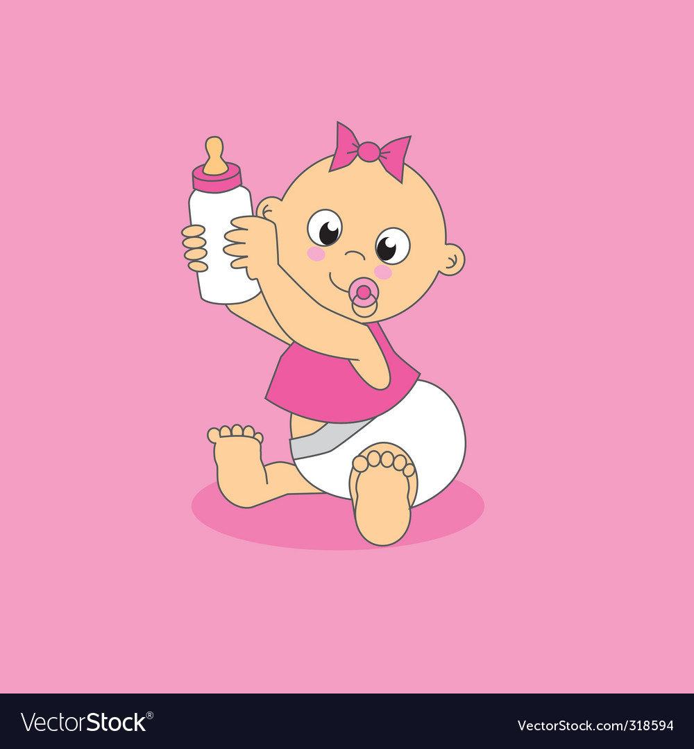 Baby with pink bottle