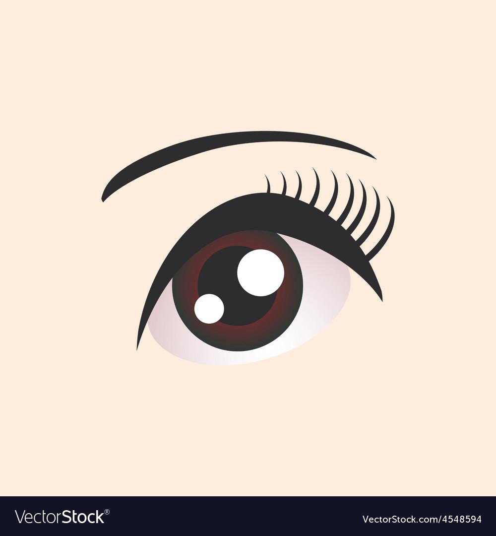 Beautiful brown female eye on beige background