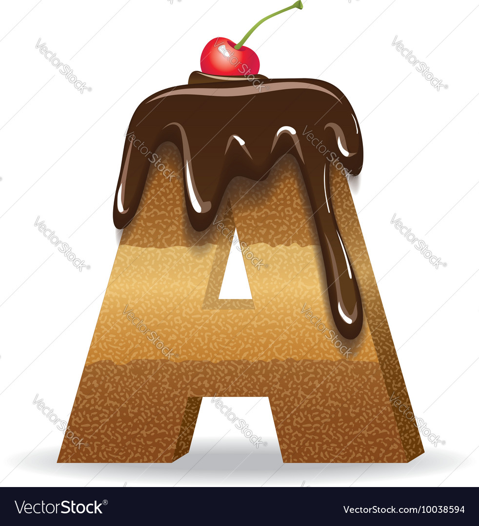 Cake Letter A Birthday Font Royalty Free Vector Image