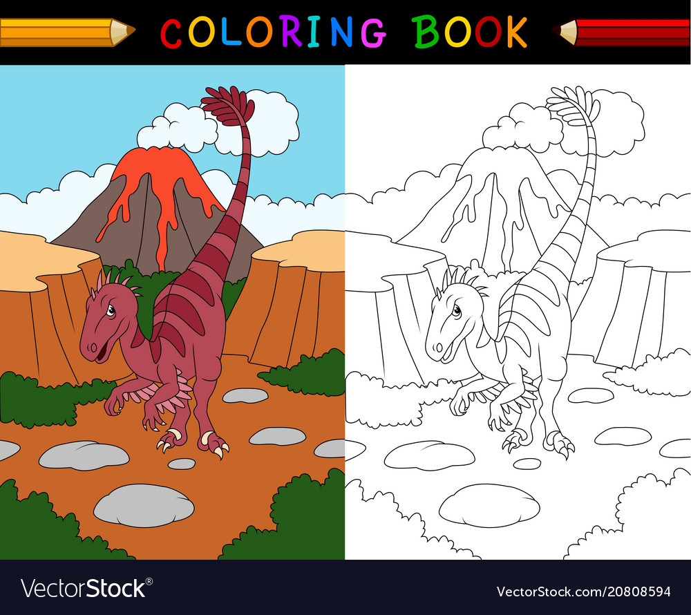 Cartoon velociraptor coloring book