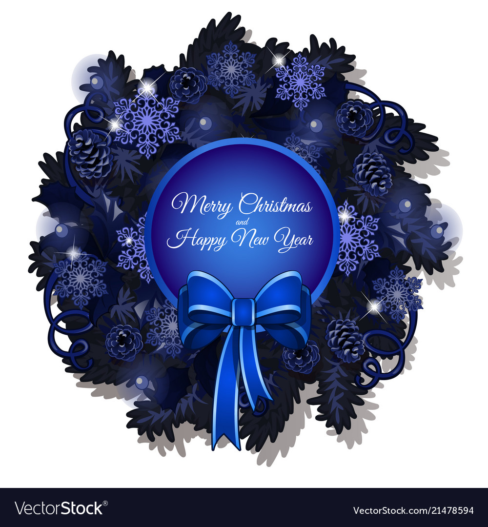 christmas sketch with a christmas wreath in blue vector image - Blue Christmas Wreath