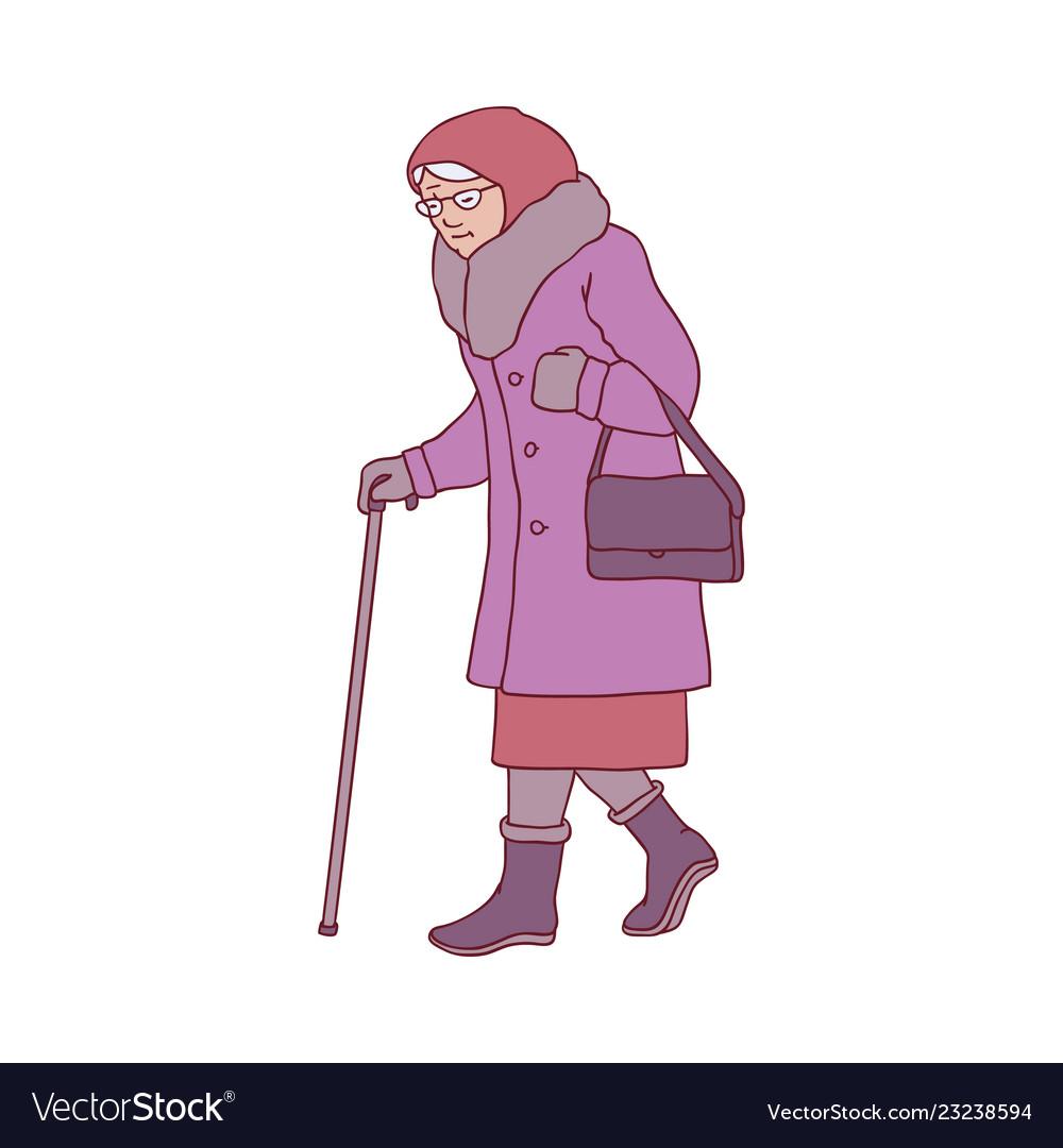 Elderly woman with walking