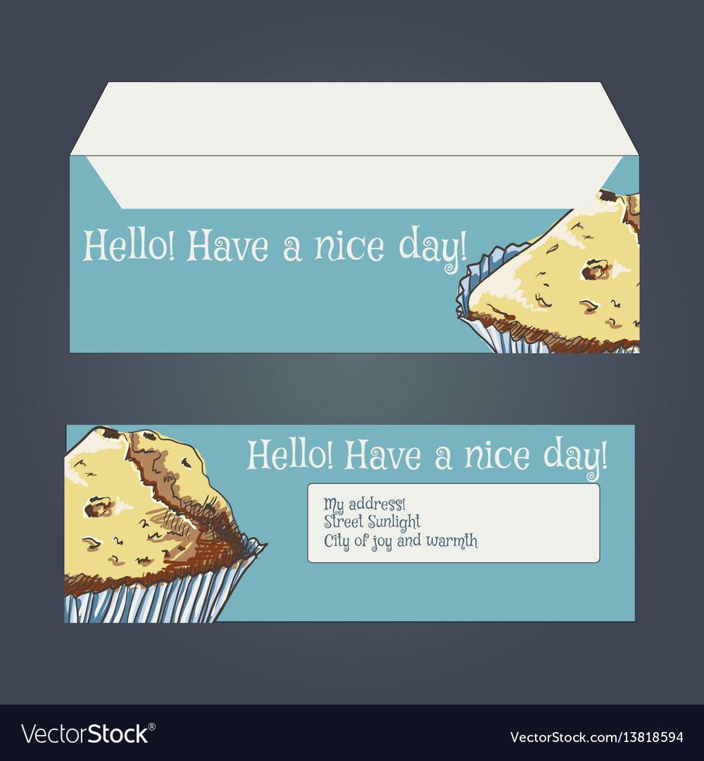 Envelopes for letters front and back drawing vector image