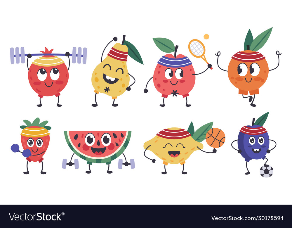 Fruit fitness characters doodle fruit mascots do