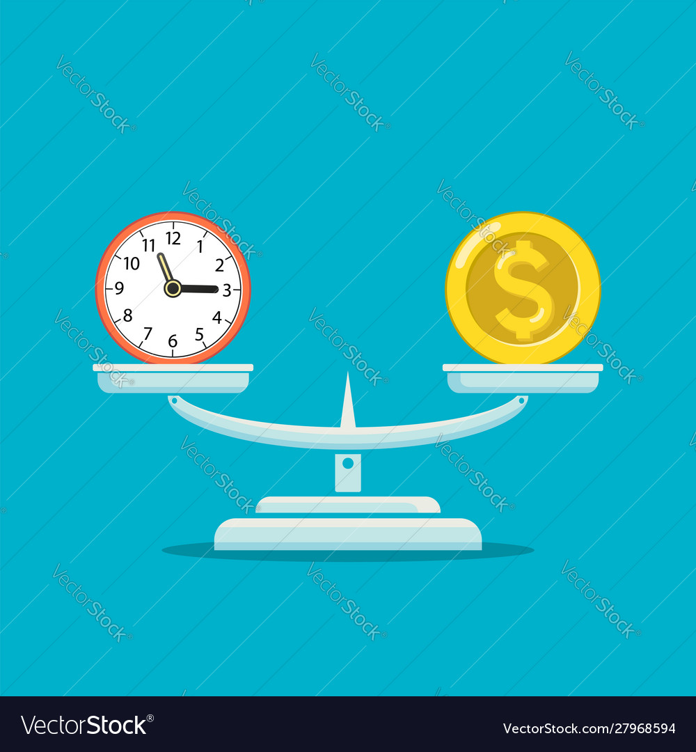 Icon money coin and clock balance on scales