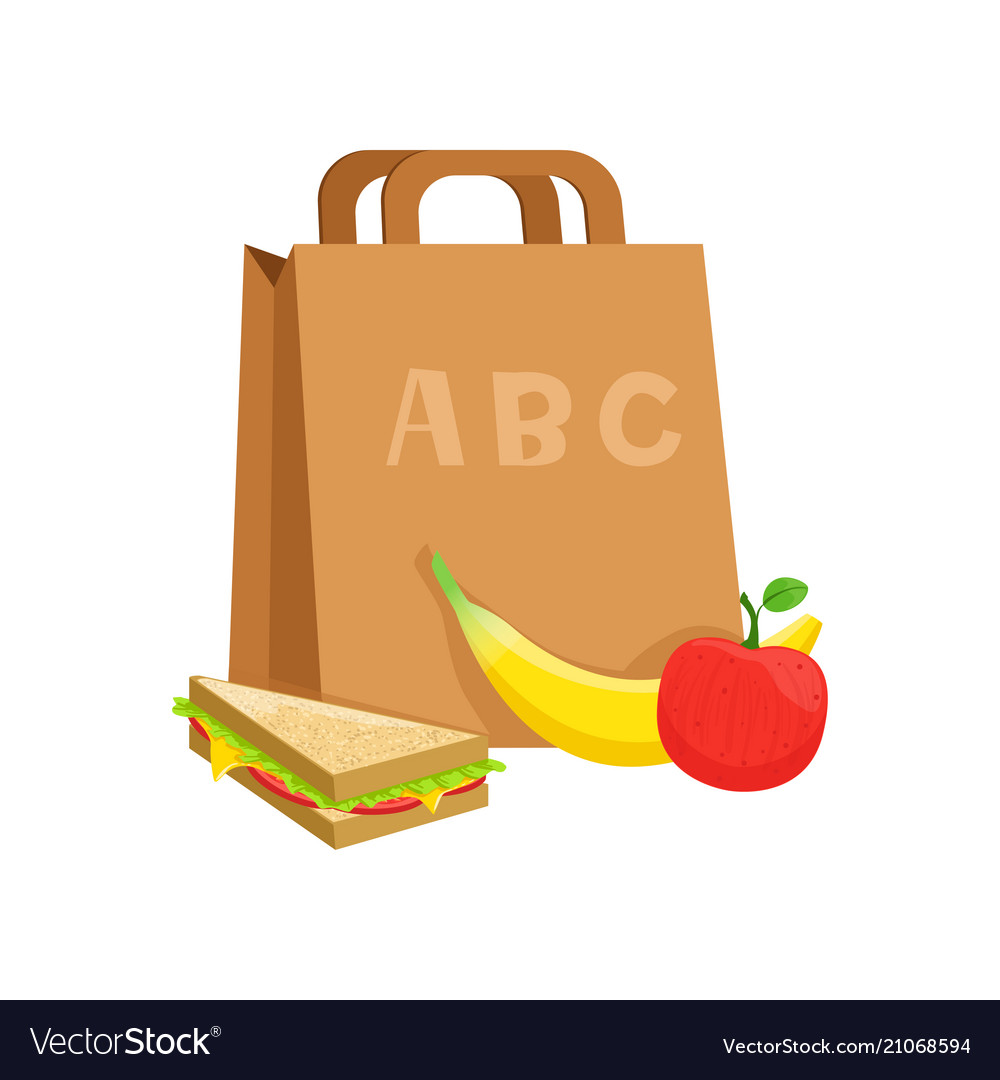 Paper bag with sandwich banana and apple school