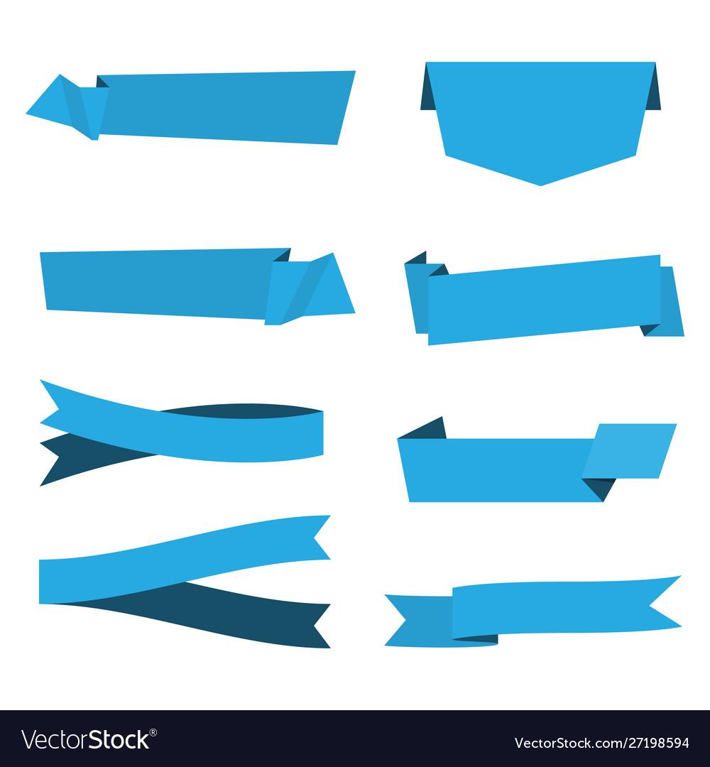 Set blue ribbon banner icon