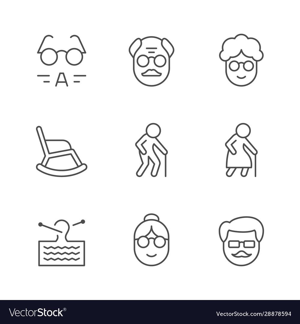Set line icons older people