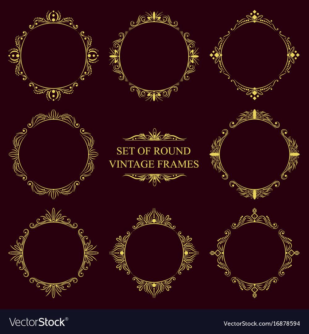 Set of round classic vintage frames royalty free vector set of round classic vintage frames vector image thecheapjerseys Image collections