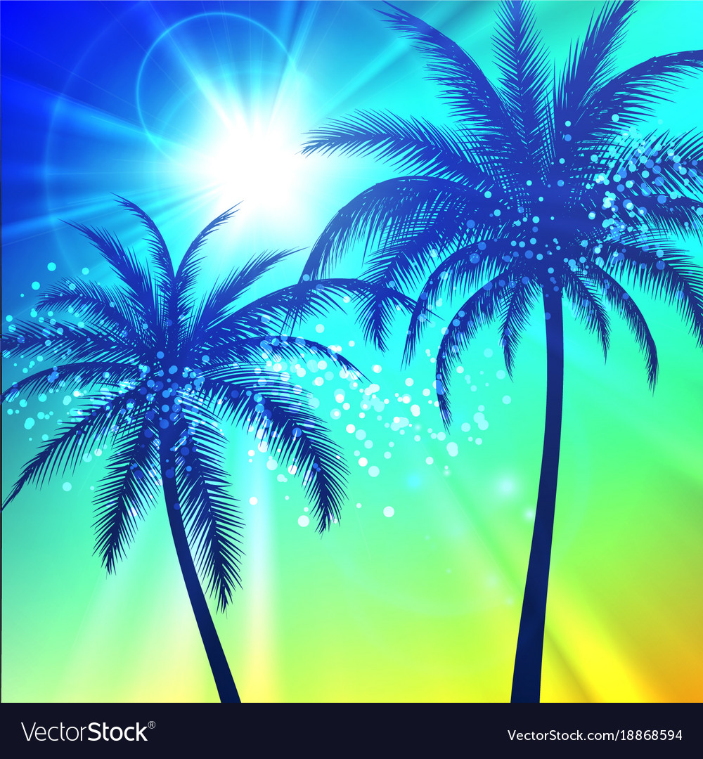 Summer background with palm silhouettes