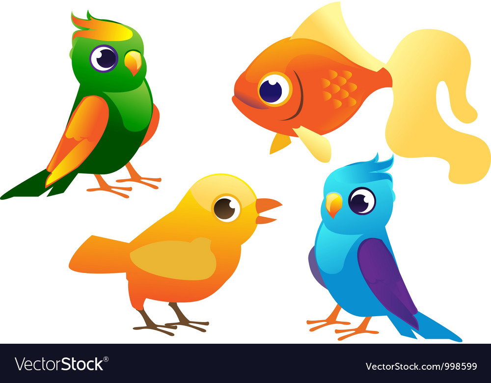 Birds and fish set vector image
