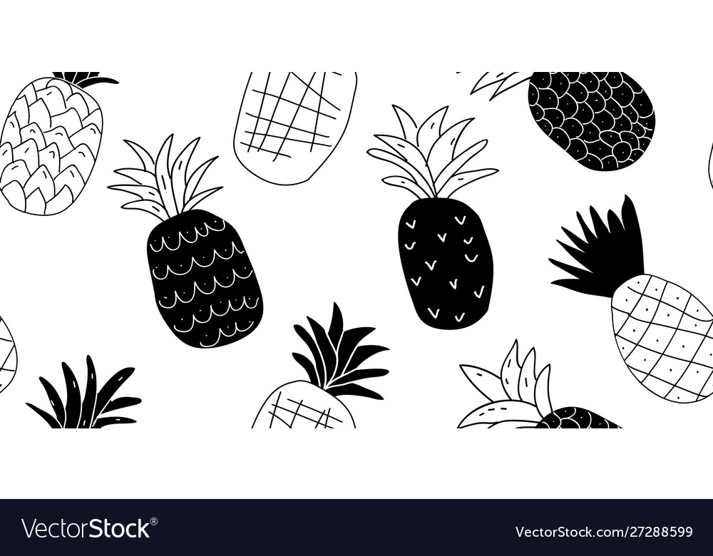 Black and white minimalistic pineapples pattern