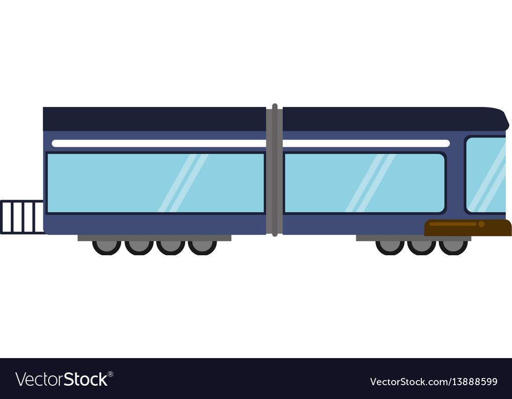 Blue train rail passenger transport vector image