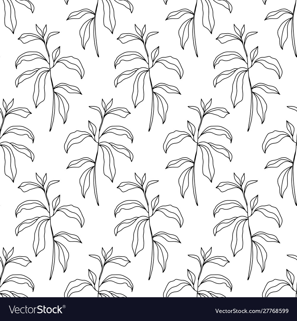 Floral seamless pattern with foliage sketch art
