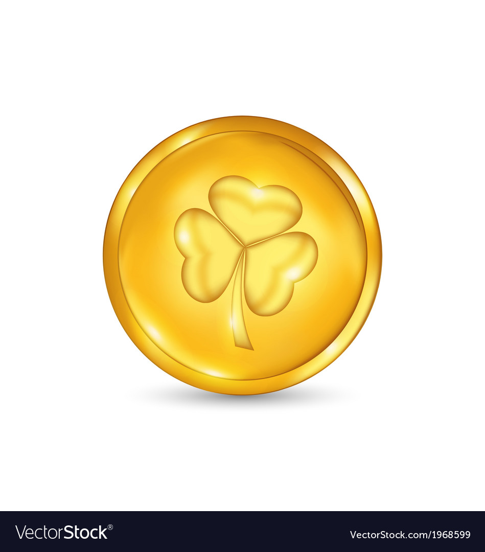 Golden coin with three leaves clover St Patricks