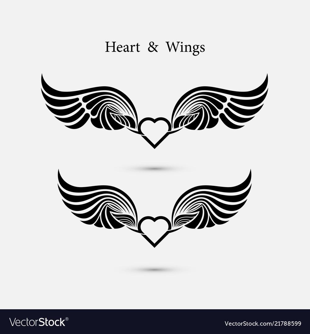 Heart logo with angel wings logo design