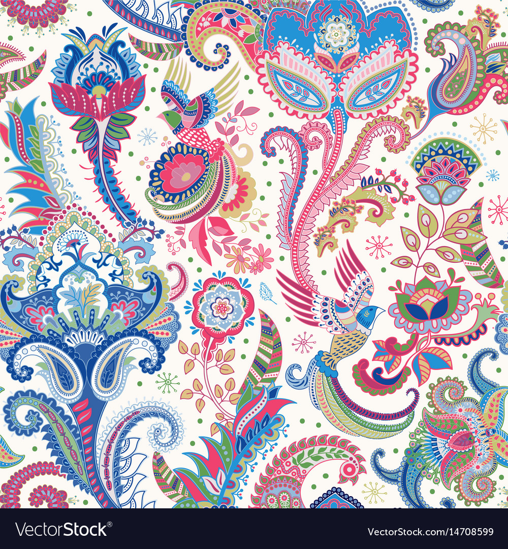 Indian Motive Ethnic Ornamental Wallpaper Big