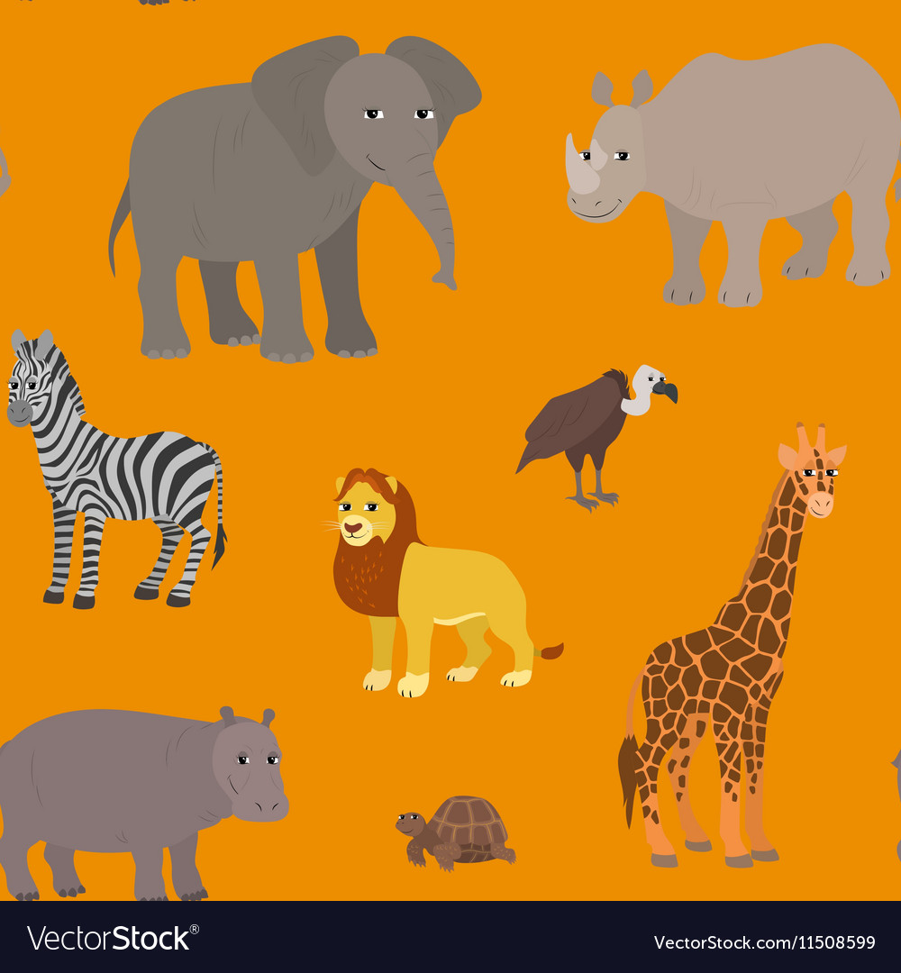 Seamless pattern with cartoon african animals