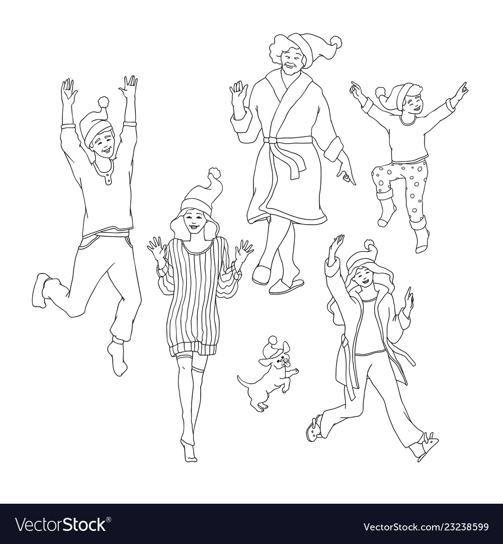 Set of happy family members in