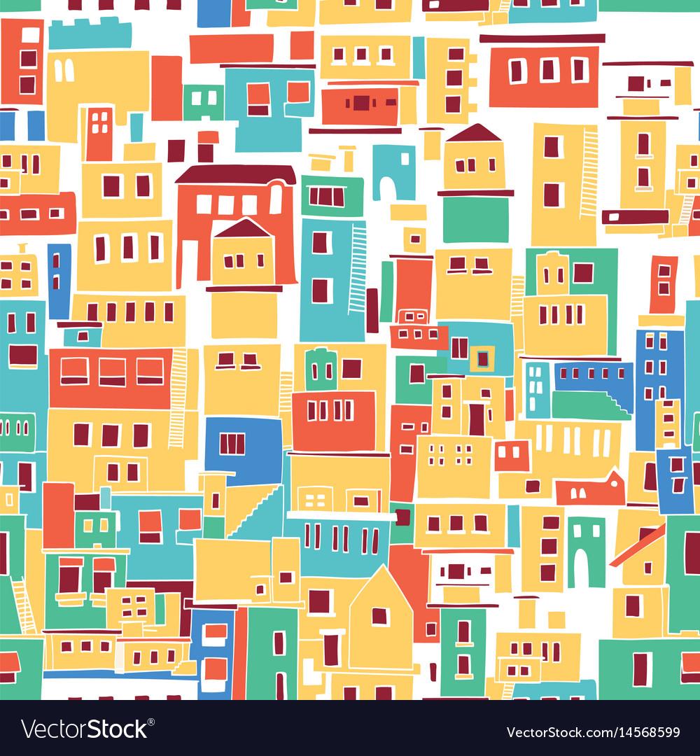 Sunny mediterranean town village pattern